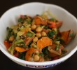 Sweet Potato and Chickpeas with Mustard Greens