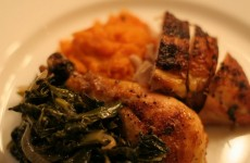 Braised Chicken with Collard Greens and Apple Juice